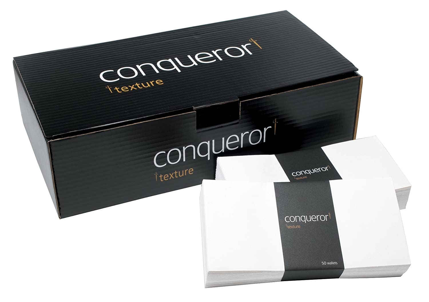 Conqueror Envelopes Wallet Peel and Seal Laid White DL Ref CDE1006BW [Pack 500] DL Brilliant White