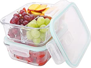 HoleCards 37oz Glass Meal Prep Food Storage Container 3 Compartment BPA Free Microwave Safe Reusable Leakproof Container Set with Lids (37oz, Set of 2)