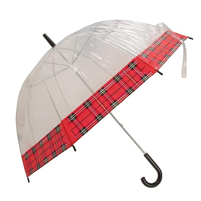 Severyn Paraguas transparente con borde con estampado de cuadros para mujer (Talla Única/Rojo