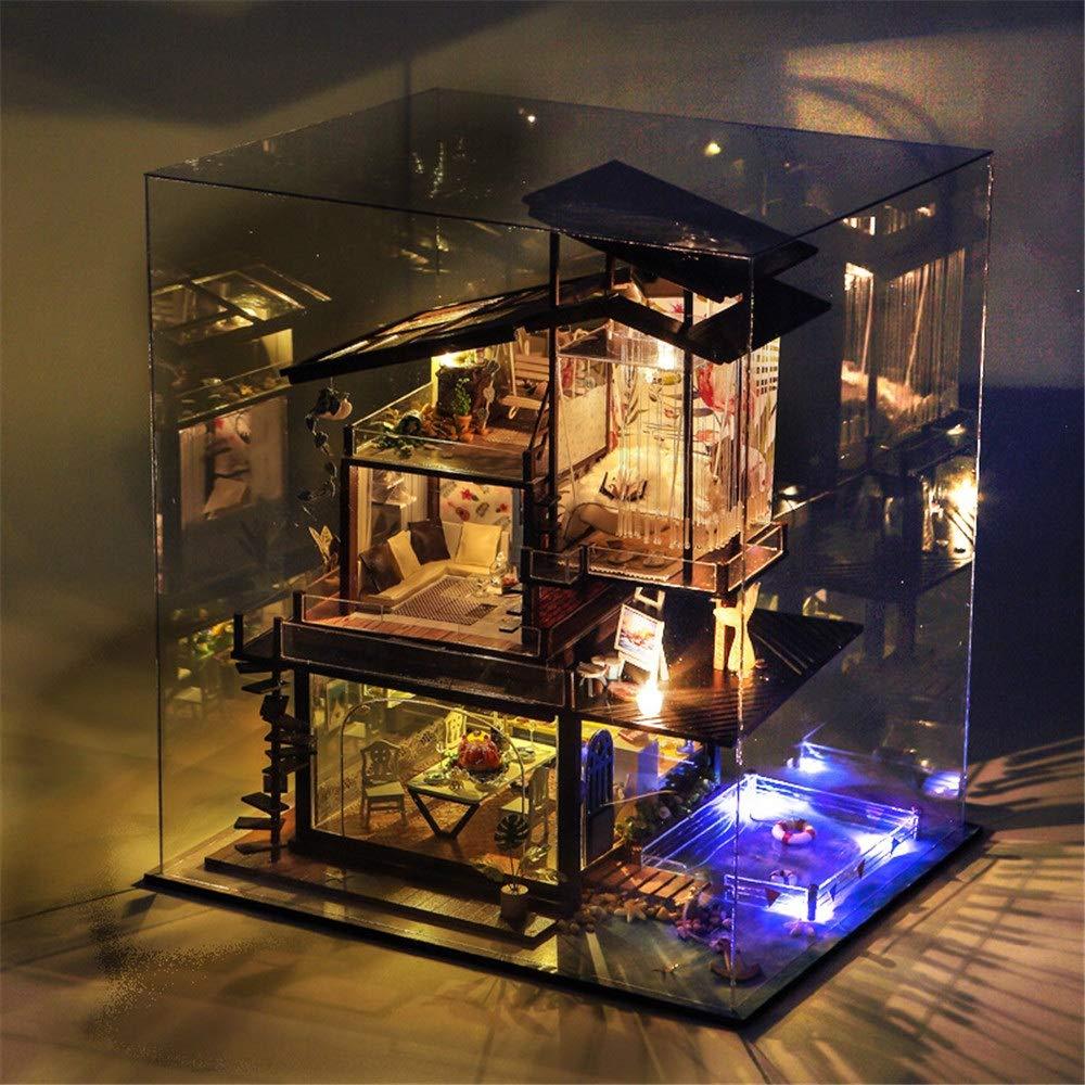 Casa de muñecas en miniatura con muebles Coastal Villas Manual de ensamblaje creativo Arquitectura en miniatura Kits de manualidades de invernadero 3d para adultos - Casa de muñecas de madera con mueb