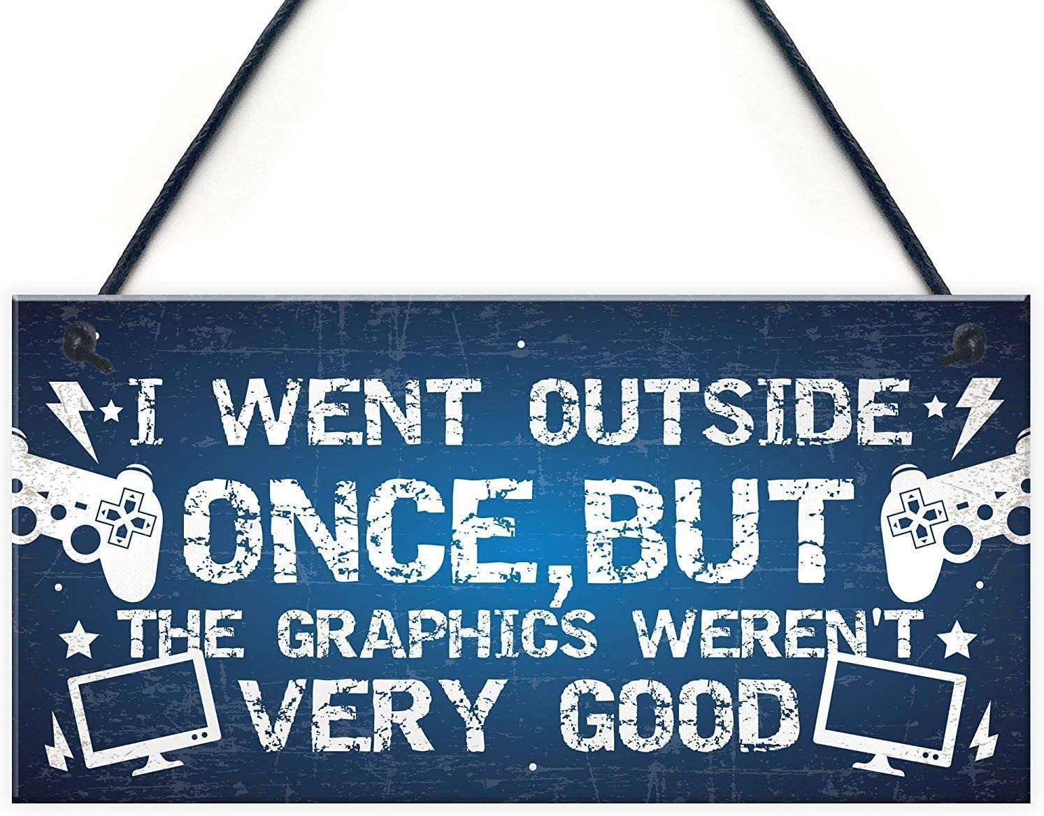 INNAPER I Went Outside Once Wood Signs with Sayings for Home Decor Wall Art for Wall Haning 10x5(YBW777)