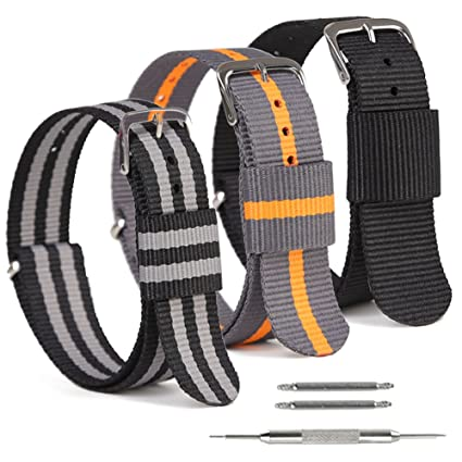 aeb2d8774 SIMCOLOR Nylon Watch Straps,3 Pack Nylon Replacement Watch Bands 16mm 18mm  20mm 22mm 24mm