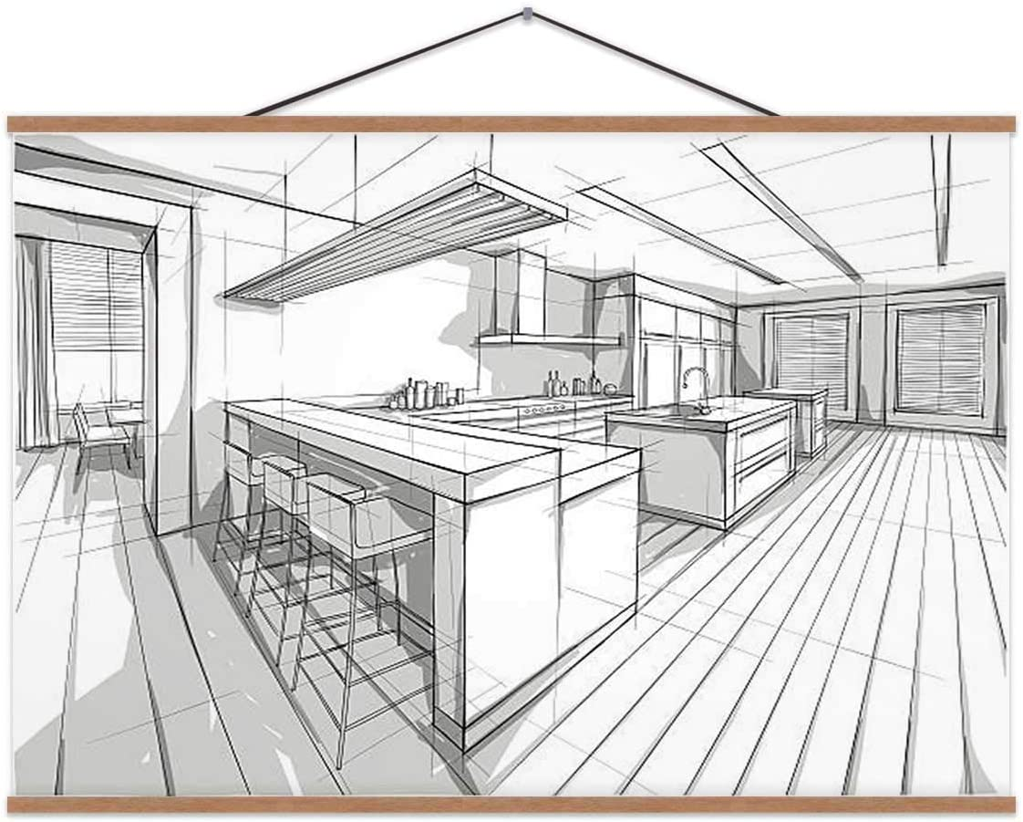 Drawing of A Design for Interior Home Kitchen,Magnet Print Posters Tile for Wall 16X12In