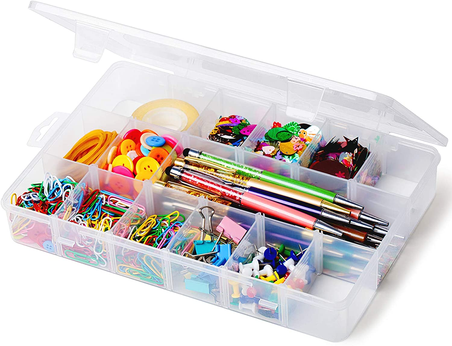 iBune 18 Grids Plastic Compartment Container, Bead Storage Organizer Box Case with Adjustable Removable Dividers for Jewelry Craft Tackles Tools, Each Grid Size 1.7 x 2.2 x 1.5 in (White)