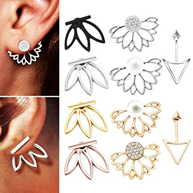 cb8c61b5cbcdb Blinst 4-10 Pairs Ear Jacket Stud Lotus Flower Earrings for Women and Girls  Set for sansitive Ears Simple Chic Jewelry