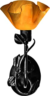 product image for Jezebel Radiance BRSC-B-MA-LP12-AMB Lily Style Black Branch Sconce with Magnolia Leaves, Amber