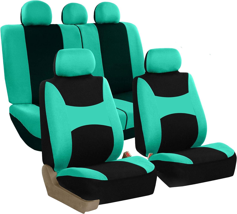 FH Group FB030115 Light & Breezy Flat Cloth Full Set Car Seat Covers Set, Airbag & Split Ready w. Gift, Mint/Black- Fit Most Car, Truck, SUV, or Van