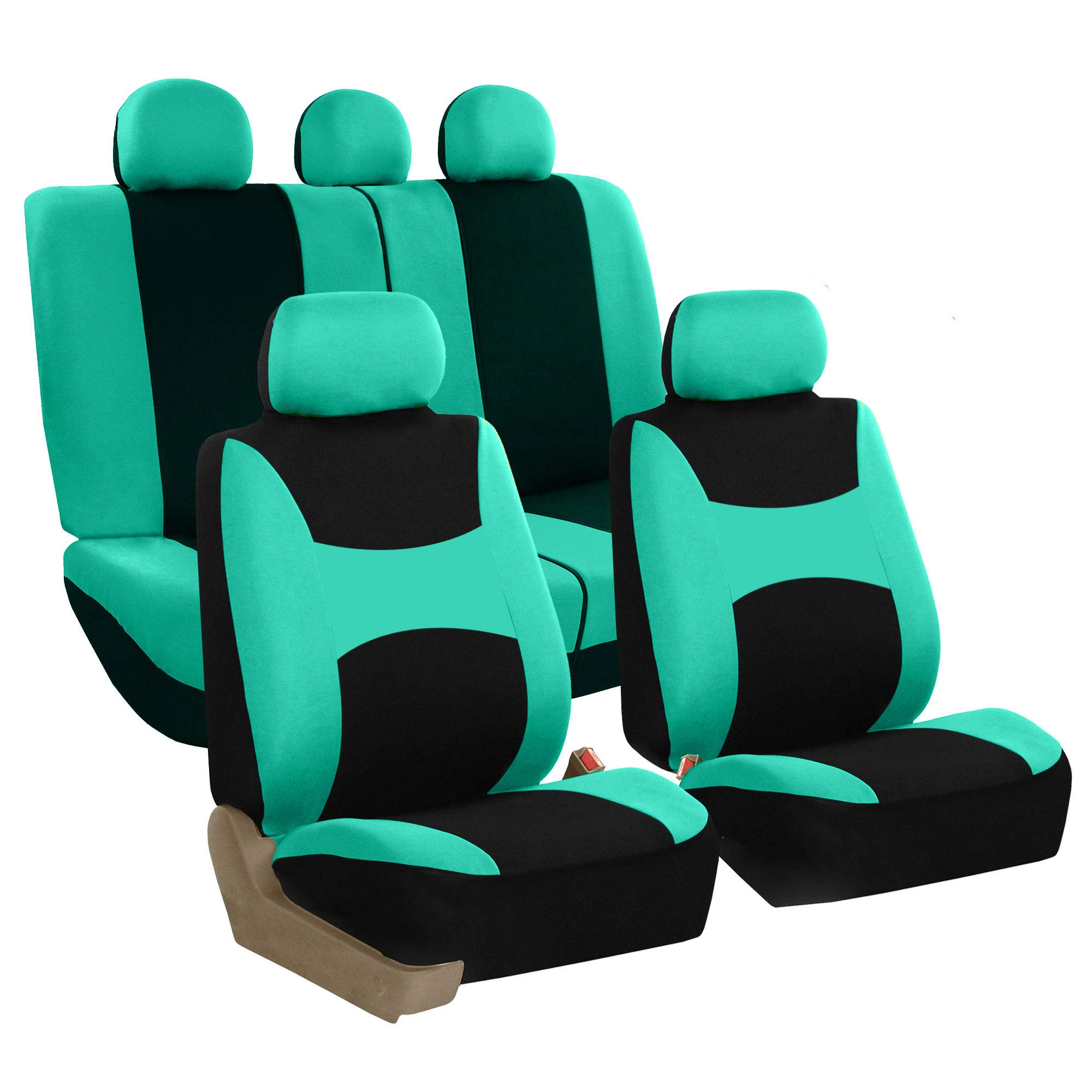 FH Group FB030MINT115 full seat cover (Side Airbag Compatible with Split Bench Mint) by FH Group