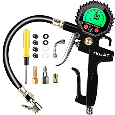 TiGaAT Digital Tire Pressure Gauge Inflator,200 PSI Tire Inflator Air Chuck Compressor Accessories with 360° Rubber Hose for Car Bike Rv Truck Automobile and Motorcycle: Automotive