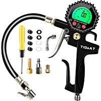 TiGaAT Digital Tire Pressure Gauge Inflator,200 PSI Tire Inflator Air Chuck Compressor Accessories with 360° Rubber Hose for Car Bike Rv Truck Automobile and Motorcycle