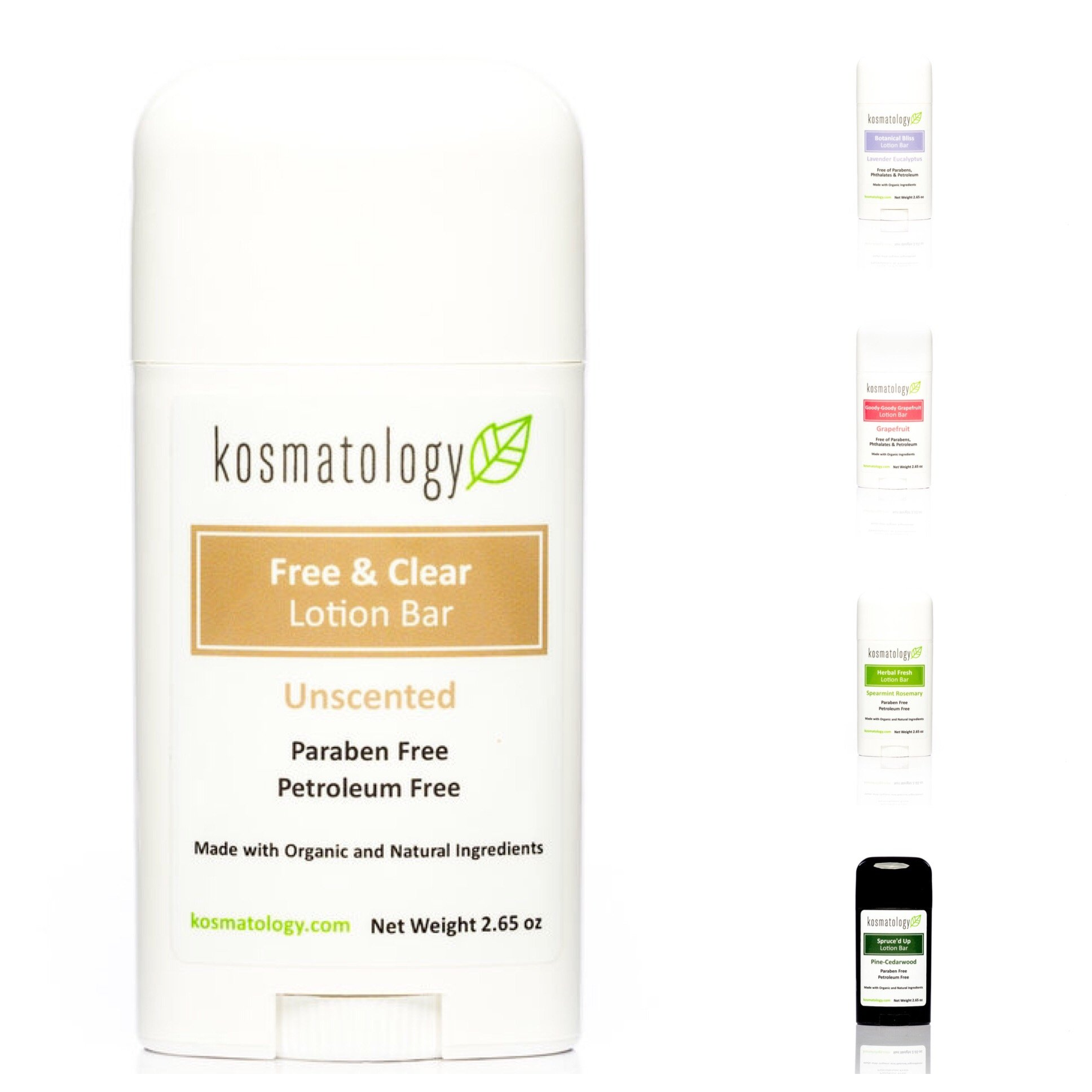 Kosmatology Free & Clear (Unscented) Organic Lotion Bar, 2.65 oz by kosmatology
