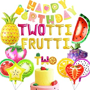 Twotti Frutti Birthday Decorations Balloons Twotti Fruity Second Fruit Pineapple Watermelon Summer Birthday Party Supplies Decorations
