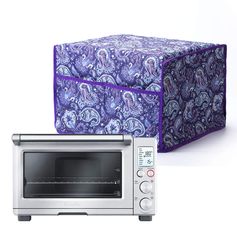 Toaster Convection Oven Cover, Smart Oven Dustproof Cover Large Size Cotton Quilted Kitchen Appliance Protector Storage Bag With 2 Accessary Pockets, Machine Washable CYFC40 Purple Floral Pattern