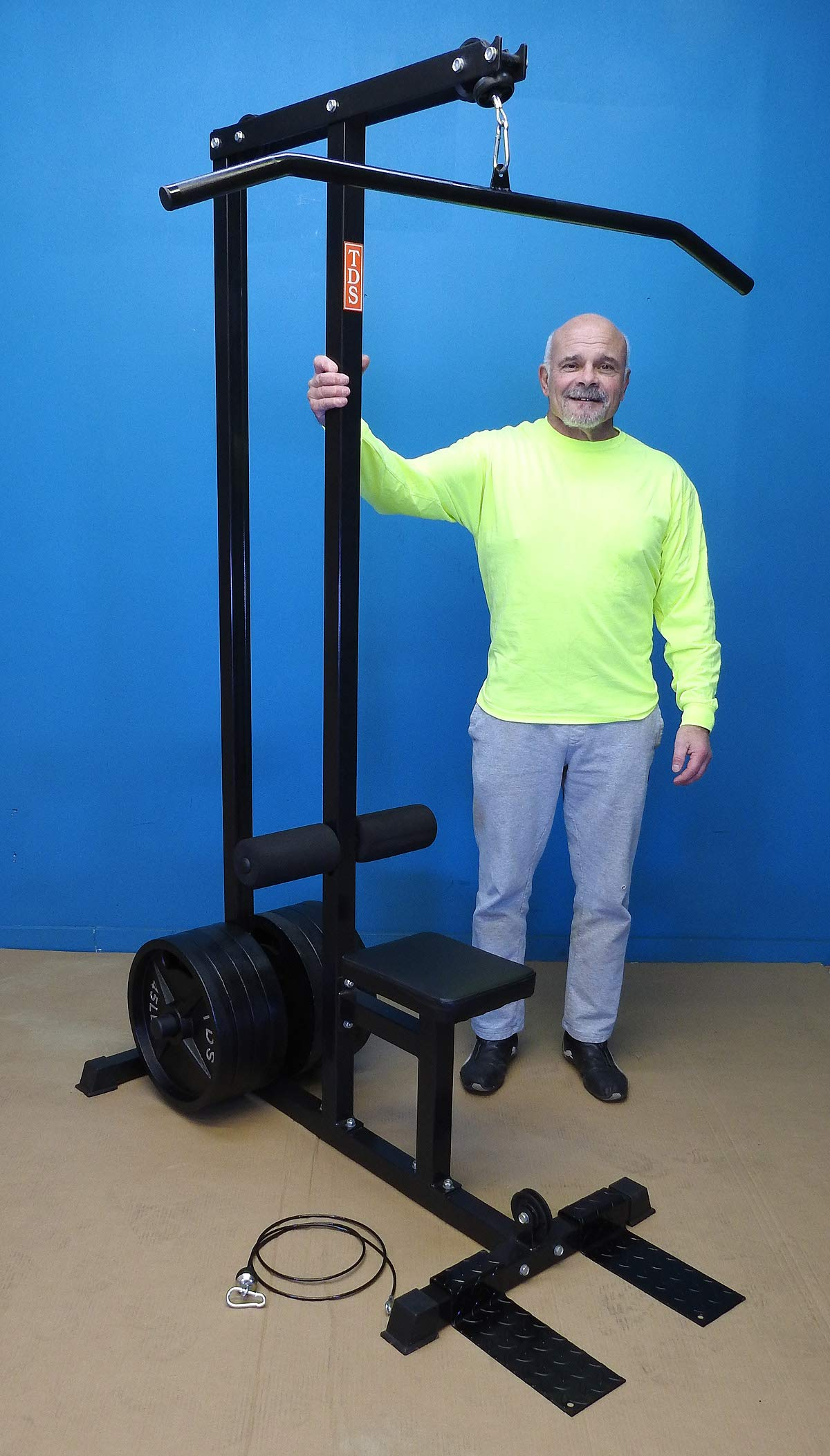 TDS LAT (Triceps) Pulldown Low Row Cable Machine with 400lb Capacity to use Std and OLY Plates, Includes 1.25'' Dia Knurled 48'' Long LAT Bar, Low Row bar & Foot Rest. Shown with 360 lb OLY Plates