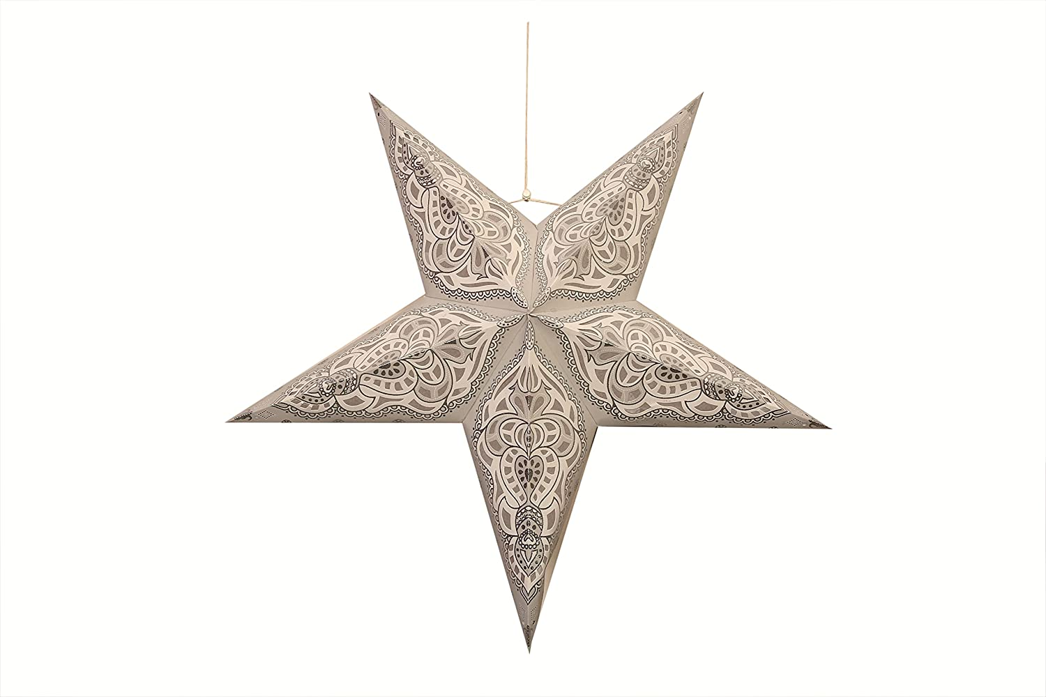 Fairy Star Lanterns Paper Star for Christmas/Diwali/Home Decorations/Parties/Valentine's Day - Size: 24 Inches (White)