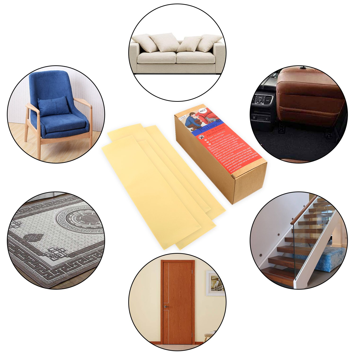 PetIsay Plastic Cat Scratching Furniture Protector Clawing Protection Guard Repellent for Fabric Sofa Table Set Pads M
