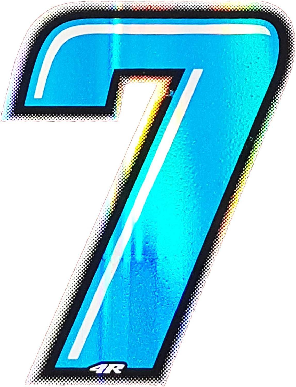 4r Quattroerre It 13277 Startnummer 7 Aufkleber Für Motorräder Blau 10 X 6 5 Cm Auto