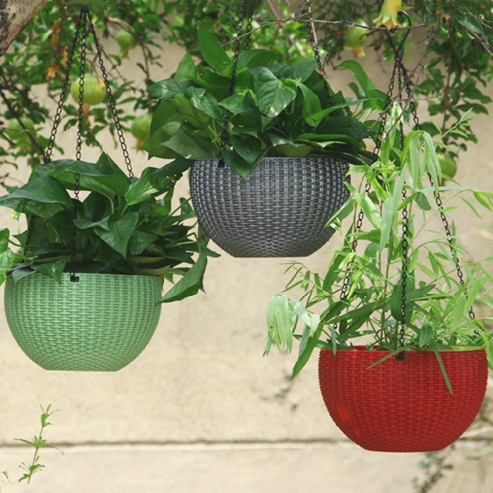 Autoecho catena rotonda in resina di plastica cestino appeso planter-growers a forma di vaso Decor pot-garden Flower Plant Hanger per uso interno ed esterno grigio