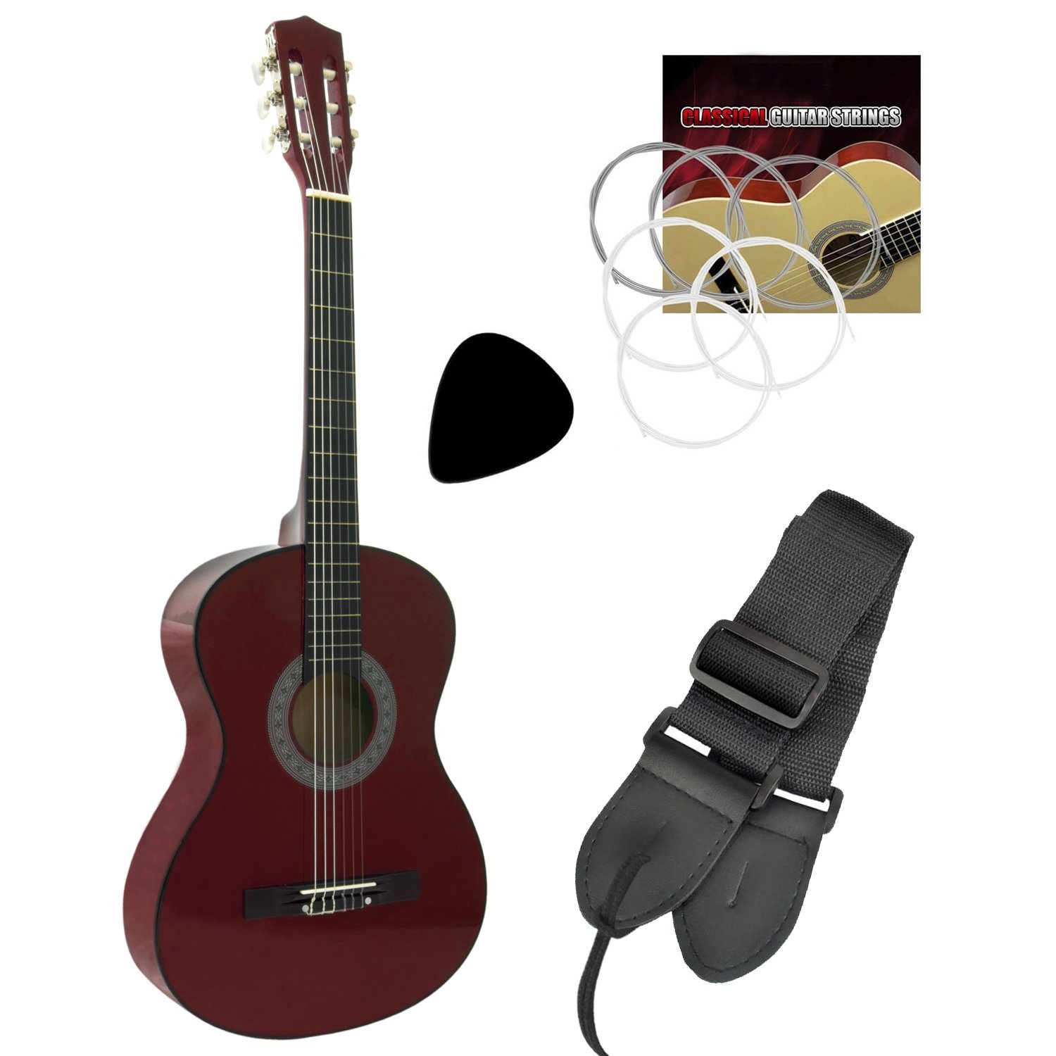 Tiger Beginner 1/2 Size Classical Guitar Pack - Red Guitar Tiger Music CLG6-RD