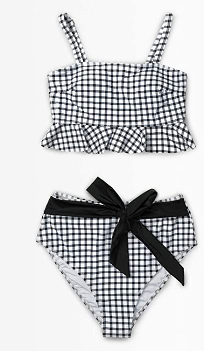 eaca27b207d Amazon.com  CUPSHE Women s Black White Gingham Swimsuit Ruffles Two ...
