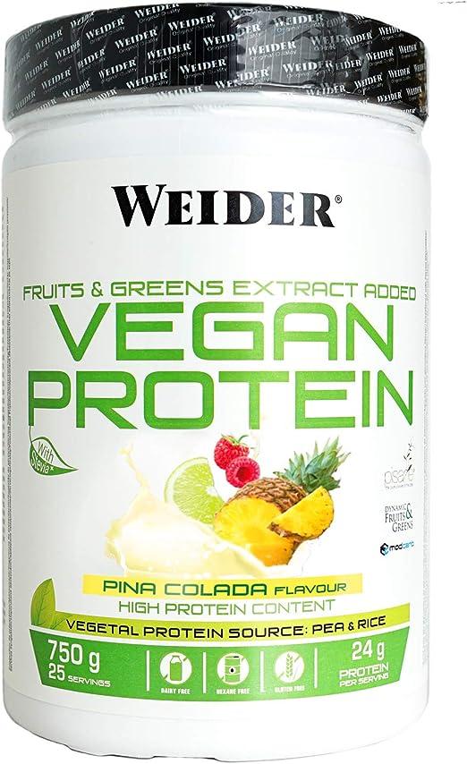 Weider Vegan Protein. Sabor Piña Colada. Proteína 100% vegetal de guisantes (PISANE)y arroz. Sin gluten. Sin lactosa. Sin aceite de palma (750 g): Amazon.es: Salud y cuidado personal