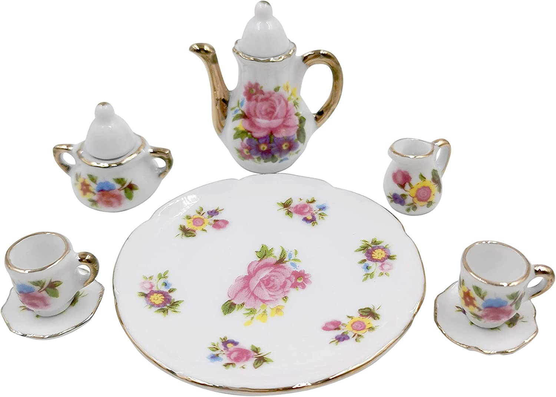 Tukeajuko Miniature Dollhouse Accessories Tea Pot Plate Cup Doll House Porcelain Mini Kitchen Kit Decor Furniture Set 1 12 Scale