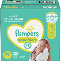 Diapers Newborn/Size 0 (< 10 lb), 120 Count - Pampers Swaddlers Disposable Baby Diapers, Giant Pack (Packaging May Vary)
