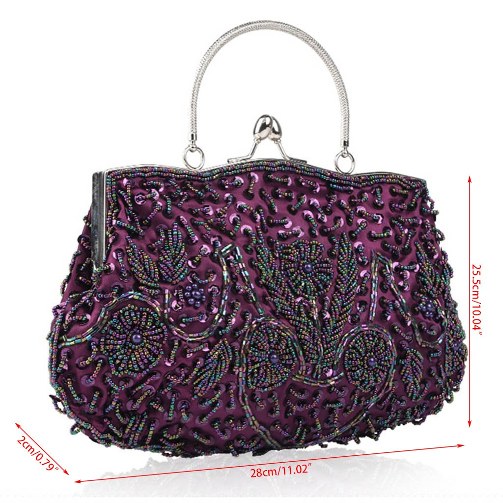 Amazon.com: Best-topshop Womens Vintage Kiss Lock Beaded Sequin Flower Evening Clutch Wedding Purse (Silver): Office Products
