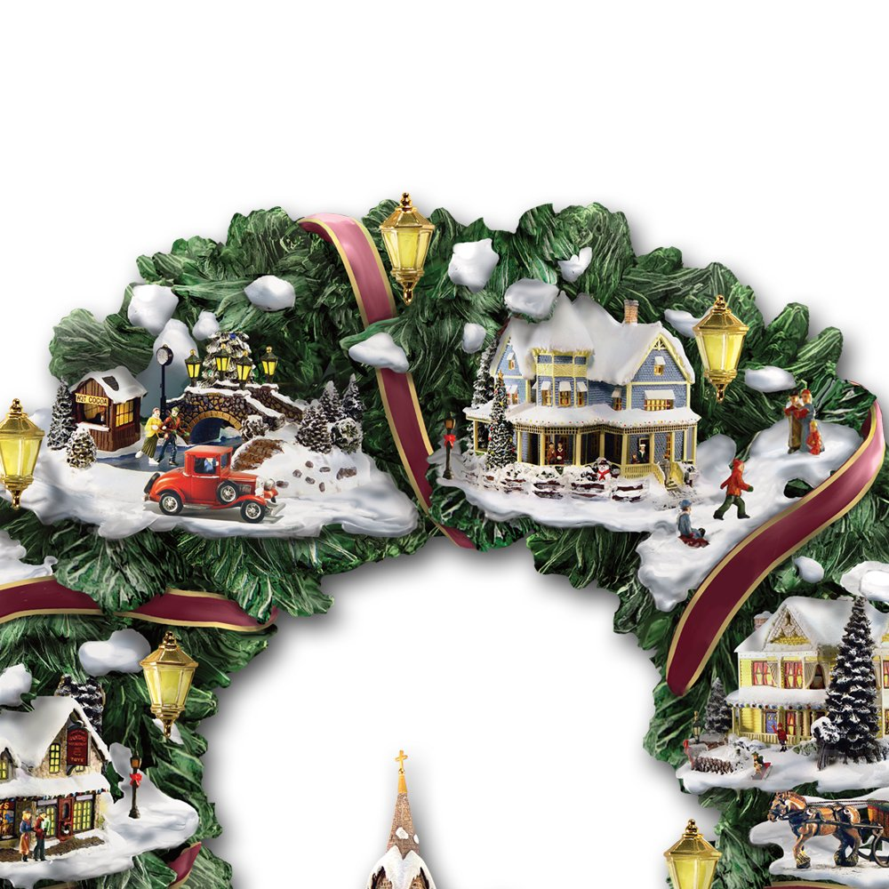Amazon.com: Thomas Kinkade Victorian Christmas Village Wreath by The ...