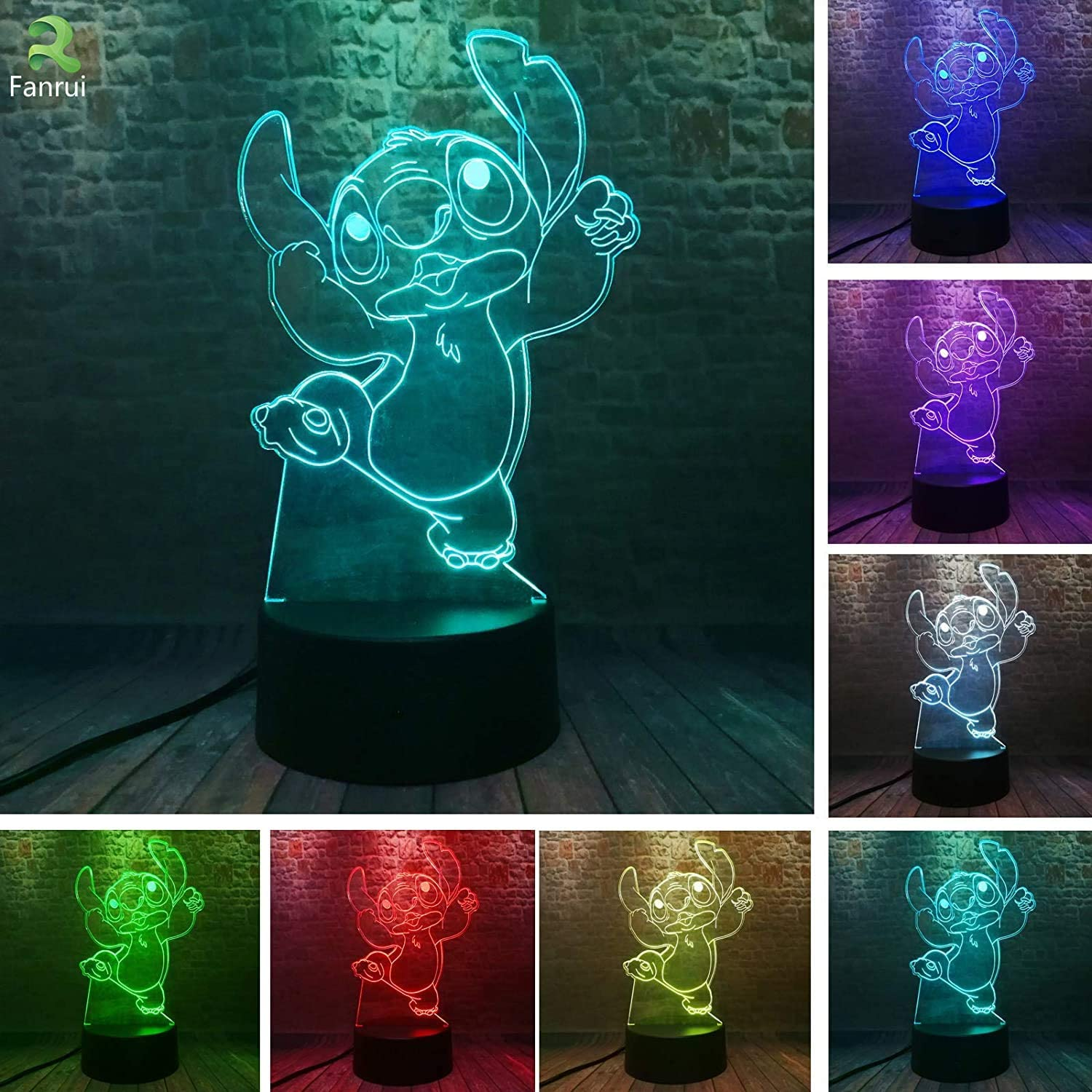 Fanrui Lilo and Stitch Elvis Teddy Stitch Dog Figurine Light Lamp Kawaii Dancing Jumping Figure Action 7 Color Change IR Remote USB Touch Night Lights Home Roon Decor Child Kids Baby Xmas Gifts