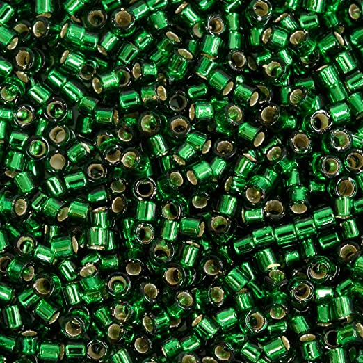Miyuki Delicas 11//0 Silver Lined DK.Green Seed Beads DB-148