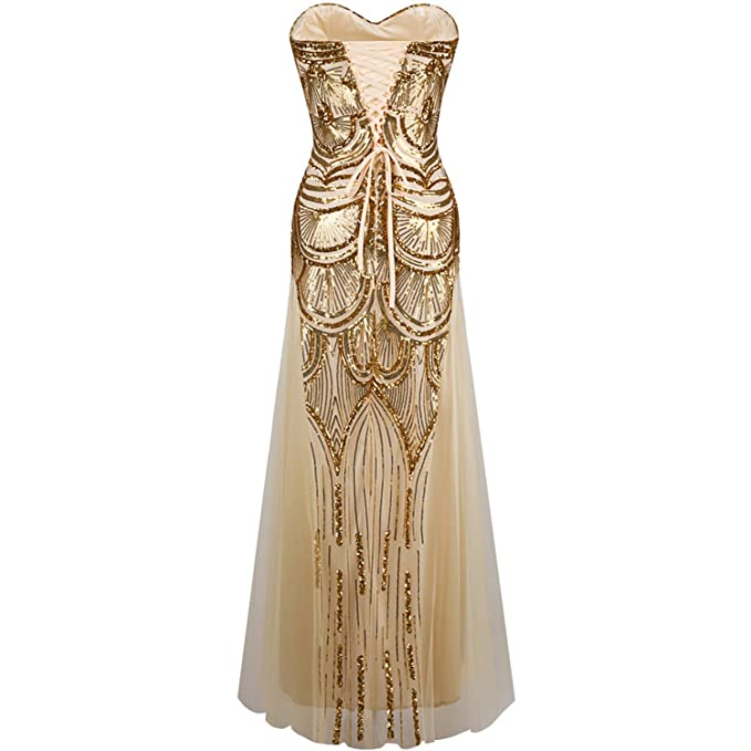 Strapless Sequined A-line Tulle Lace up Long Evening Dresses Vestidos de Noche Golden Silver Dress, Golden, 10, China at Amazon Womens Clothing store: