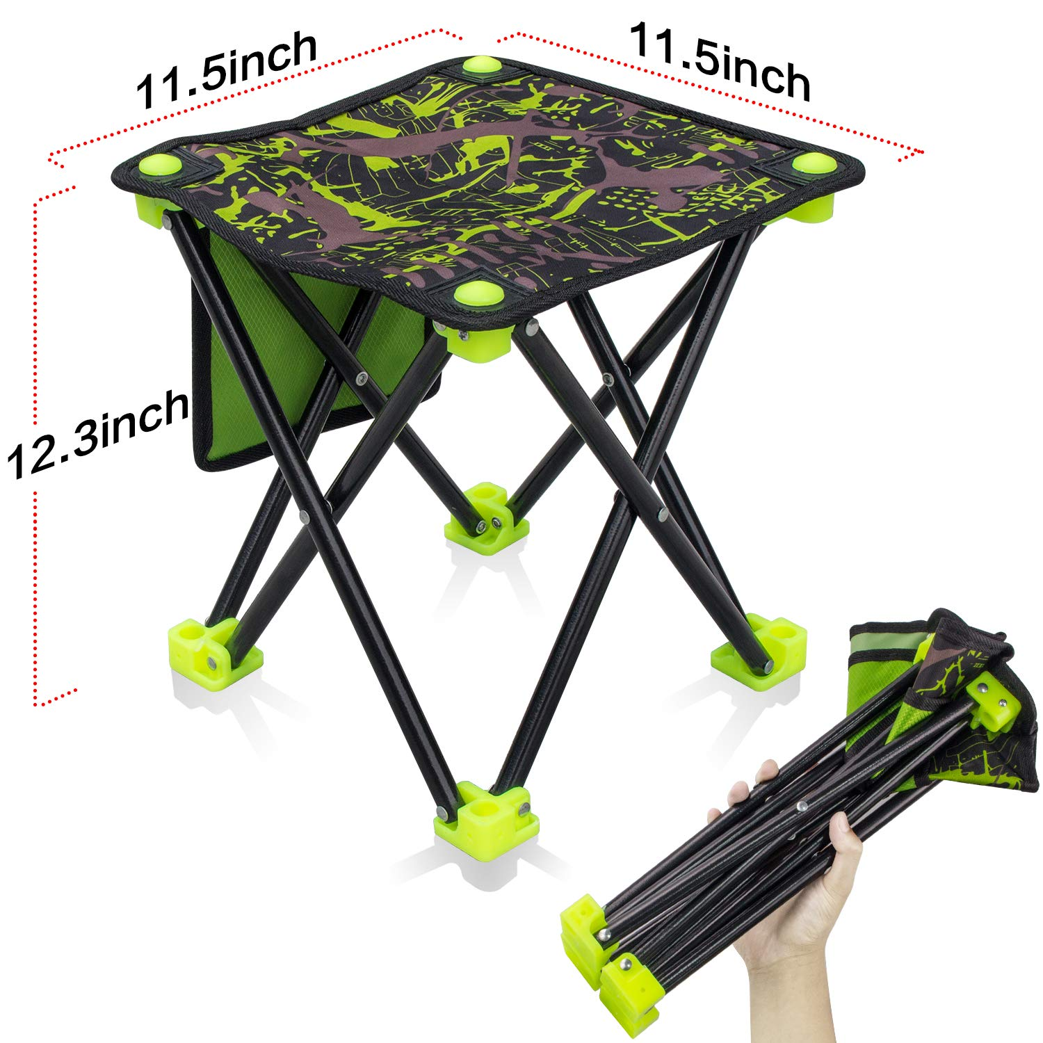 Mini Quick Folding Camping Portable Stool Slacker Chair Seat Foot Rest for Outdoor Beach Fishing Hiking BBQ Garden Picnic Travel Mountaineering Golf Party Seating Field Small Stool Green Camouflage