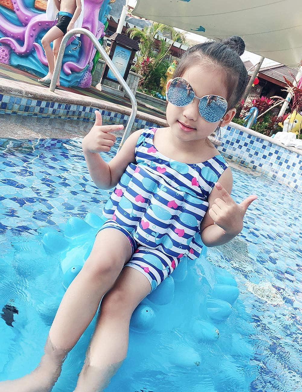 Toddler Little Girl Boy Shark Heart Striped One Piece Buoyancy Swimsuit Floatation Bathing Suit