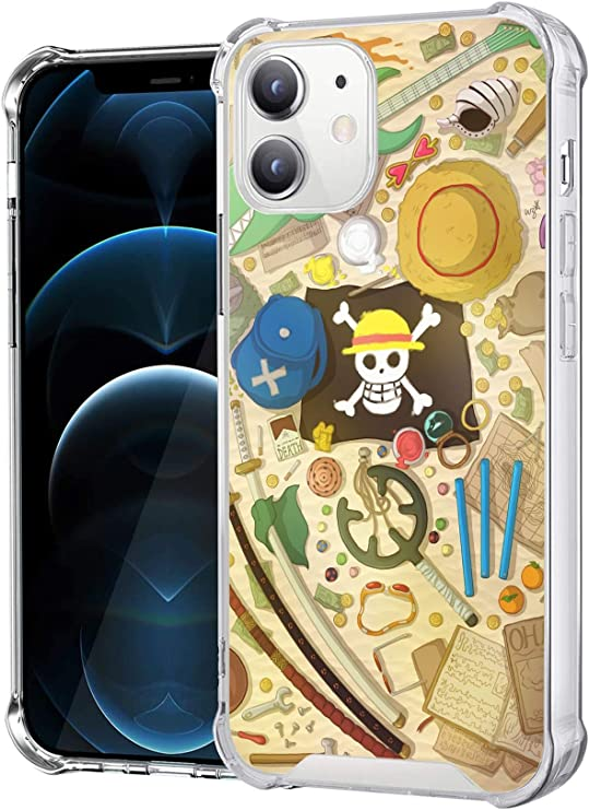 Amazon.com: Anime Manga Character Clear Case Compatible with iPhone 12 / iPhone 12 Pro 6.1-Inch Shockproof Anti-FAL Hard PC + TPU Bumper Protective Cover (One-Piece-Luffy)