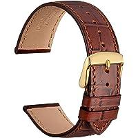 WOCCI Correas Reloj Piel Italiana, Grano de Cocodrilo, Elige Color y Ancho 14mm 18mm 19mm 20mm 21mm 22mm