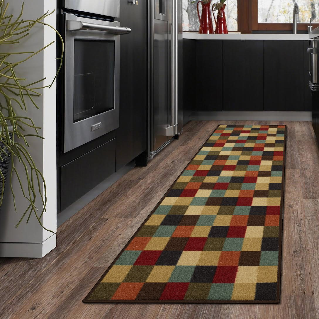 """Ottohome Collection Multi-Color Contemporary Checkered Design Modern Runner Rug With Non-Skid (Non-Slip) Rubber Backing (20""""X59"""") Kitchen and Bathroom Runner Rug"""