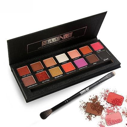 MAANGE Paletas de Sombras de Ojos Paletas de 14 Colores para Ojos con Pincel Cosméticos Multicolores para Maquillaje Profesional