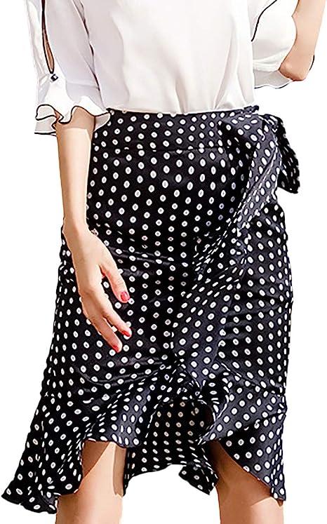 Faldas Mujer Vintage Fashion Lunares Elegantes con Cintura Alta ...