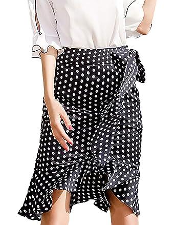 Faldas Mujer Fashion Lunares Elegantes Falda De Verano Cintura ...