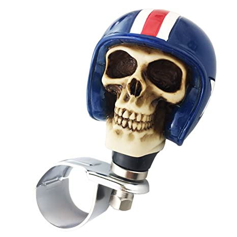 Red Pilot Style Car Power Handle Grip Knobs Fit Most Manual Automatic Vehicles Thruifo Skull Car Steering Spinner Wheel Suicide Knob