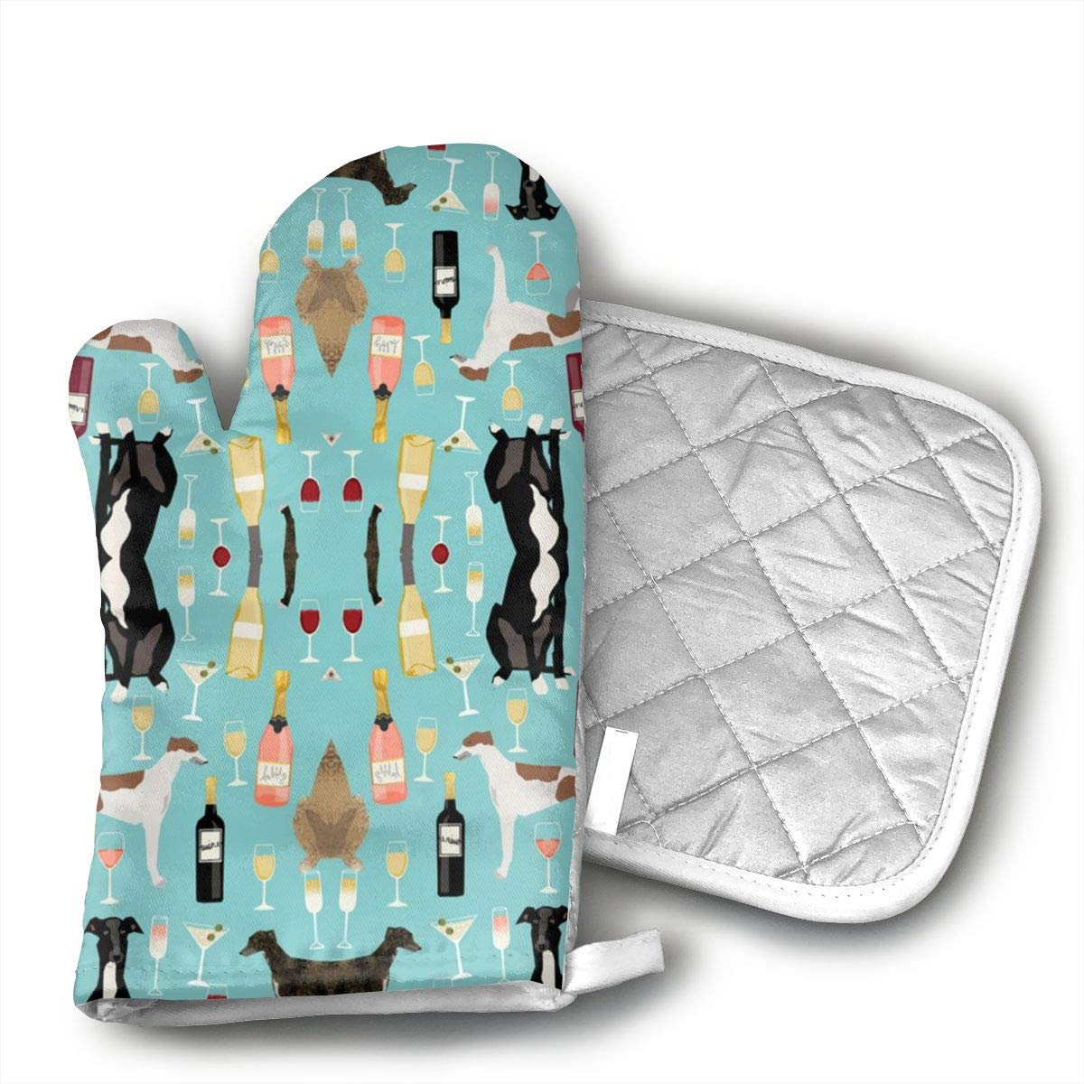 ujd Greyhounds And Wine Neoprene Oven Mitts and Potholder Set-Heat Resistant Oven Gloves to Protect Hands and Surfaces with Non-Slip Grip, Hanging Loop-Ideal for Handling Hot Cookware Items