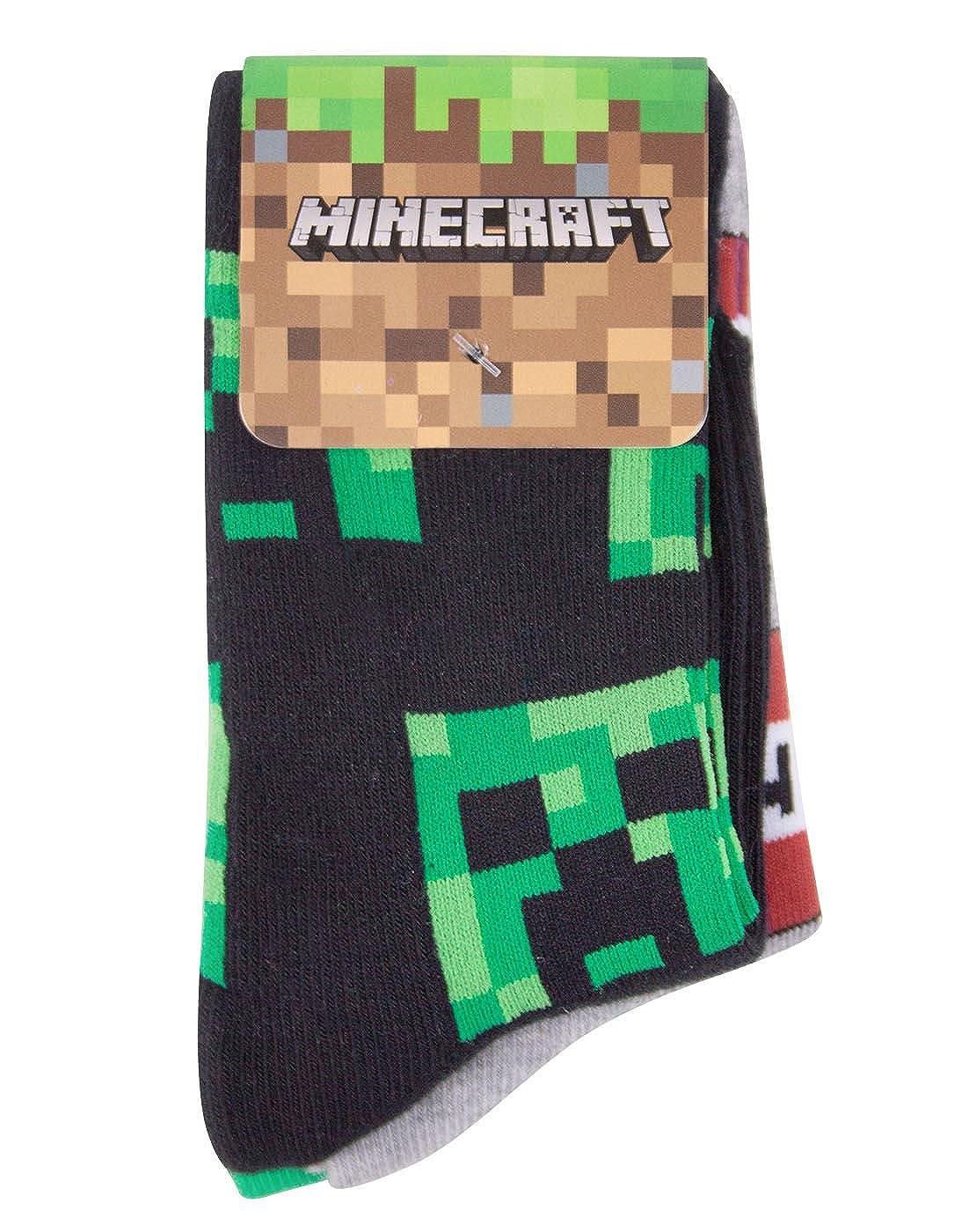 Minecraft Creeper assortiti confezione da 3/calze da ragazzo