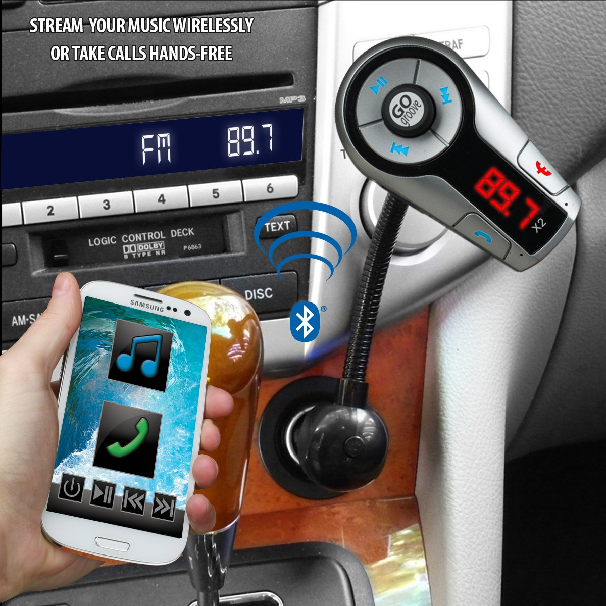 GOgroove FlexSMART X2 Bluetooth FM Transmitter for Car Radio w/USB Charging, Multipoint, Music Controls, Hands Free Microphone for iPhone, Android by GOgroove (Image #3)