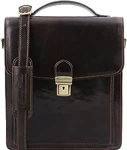 Tuscany Leather David - Leather Crossbody Bag - Large Size - TL141424 (Dark Brown)