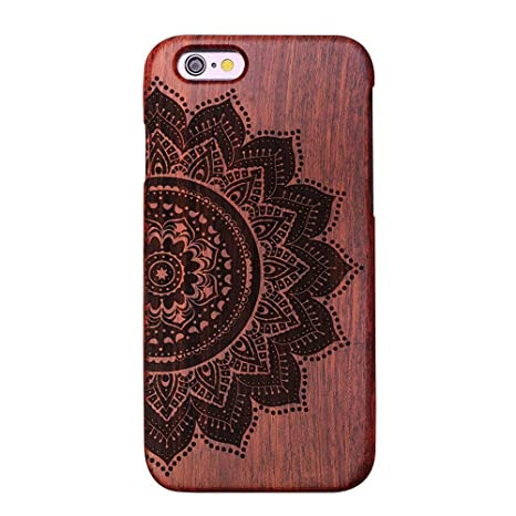 Forepin® Natur Holz Wood Hülle Handyhülle Echtem Schutz Schale Hart Cover Case Etui für iPhone 5 5S SE 4.0 Zoll - Mandala