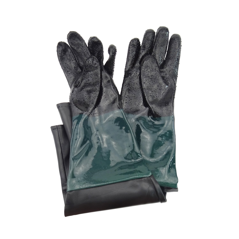 Jewboer 23.6'' Rubber Sandblasting Sandblaster Gloves for Sandblast Cabinets