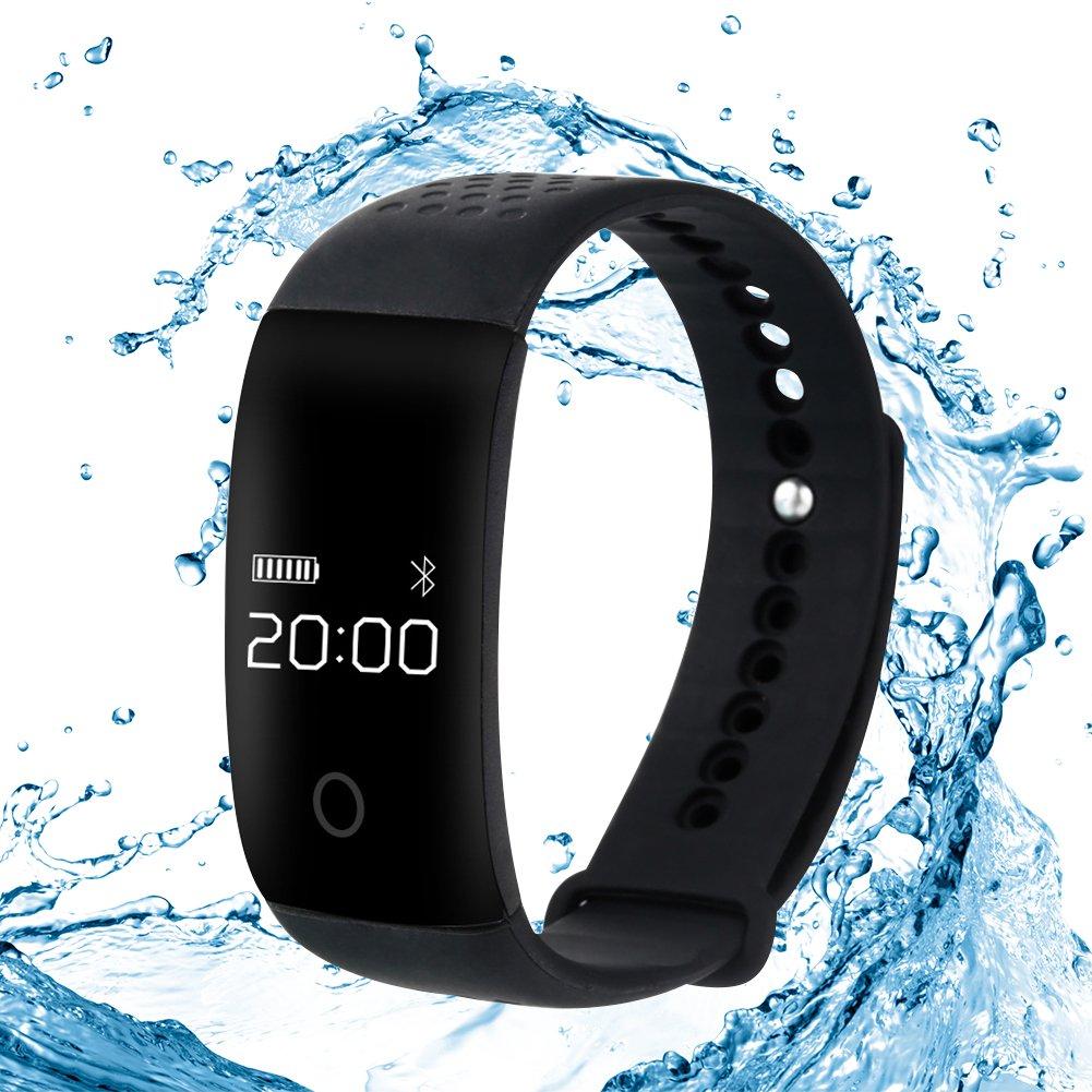 Bluetoothスマートブレスレット腕時計ブラック防水スポーツFitnessハートレートBlood酸素監視トラッカートラッカーリストバンドwith睡眠カロリーカウンター歩数計監視for Android IOS   B01HXZXW2M