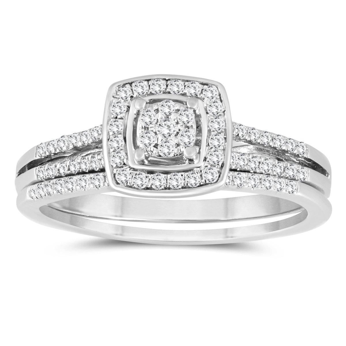1/3 Carat TW Diamond Engagement Ring and Wedding Band Bridal Set in 10K White Gold