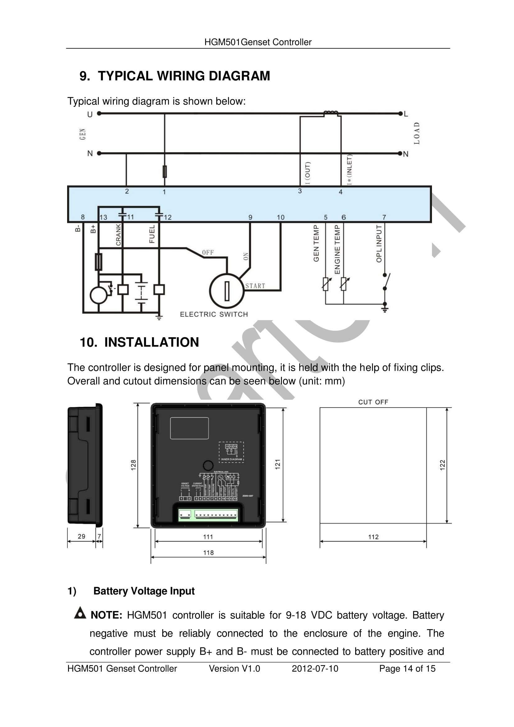SMARTGEN HGM501 Manual Start Generator Controller by SMARTGEN